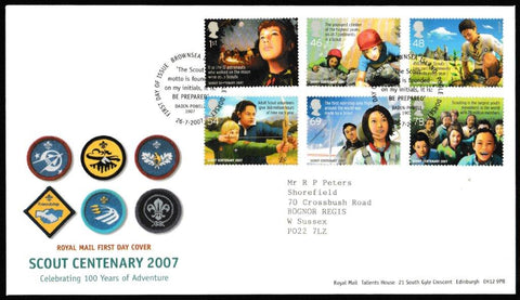 Great Britain First Day Cover, 'Scout Centenary 2007', Royal Mail, Brownsea Island, Poole, Dorset, 26-Jul-2007