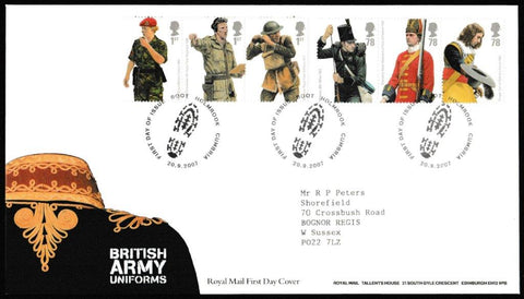 Great Britain First Day Cover, 'British Army Uniforms', Royal Mail, Boot Holmbrook, Cumbria, 20-Sep-2007
