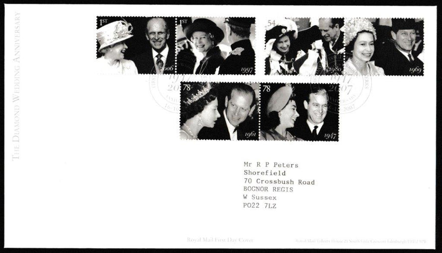 Great Britain First Day Cover, 'The Diamond Wedding Anniversary', Royal Mail, Windsor, Berks, 16-Oct-2007