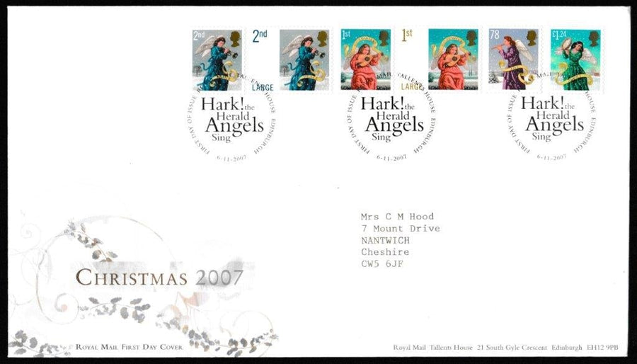 Great Britain First Day Cover, 'Christmas 2007', Royal Mail, Royal Mail, Tallents House, Edinburgh, 06-Nov-2007
