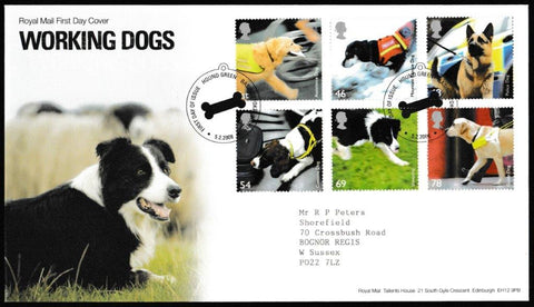 Great Britain First Day Cover, 'Working Dogs', Royal Mail, Hound Green, Basingstoke, 05-Feb-2008
