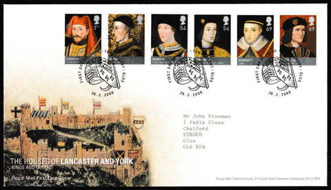 Great Britain First Day Cover, 'The Houses of Lancaster and York', Royal Mail, Tewkesbury, Glos, 28-Feb-2008