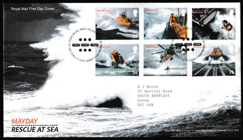 Great Britain First Day Cover, 'Mayday Rescue at Sea', Royal Mail, Royal Mail, Tallents House, Edinburgh, 13-Mar-2008
