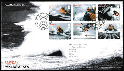 Great Britain First Day Cover, 'Mayday Rescue at Sea', Royal Mail, Poole, Dorset, 13-Mar-2008