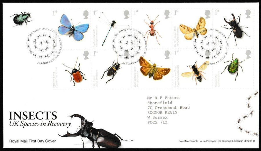 Great Britain First Day Cover, 'Insects UK Species in Recovery', Royal Mail, Crawley, W. Sussex, 15-Apr-2008