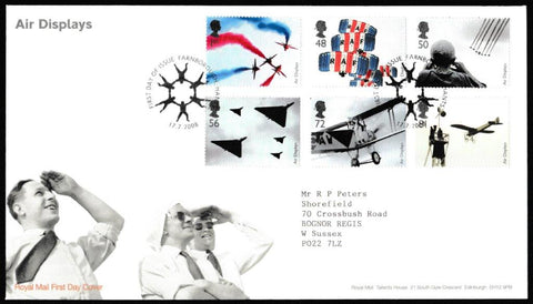 Great Britain First Day Cover, 'Air Displays', Royal Mail, Farnborough, 17-Jul-2008