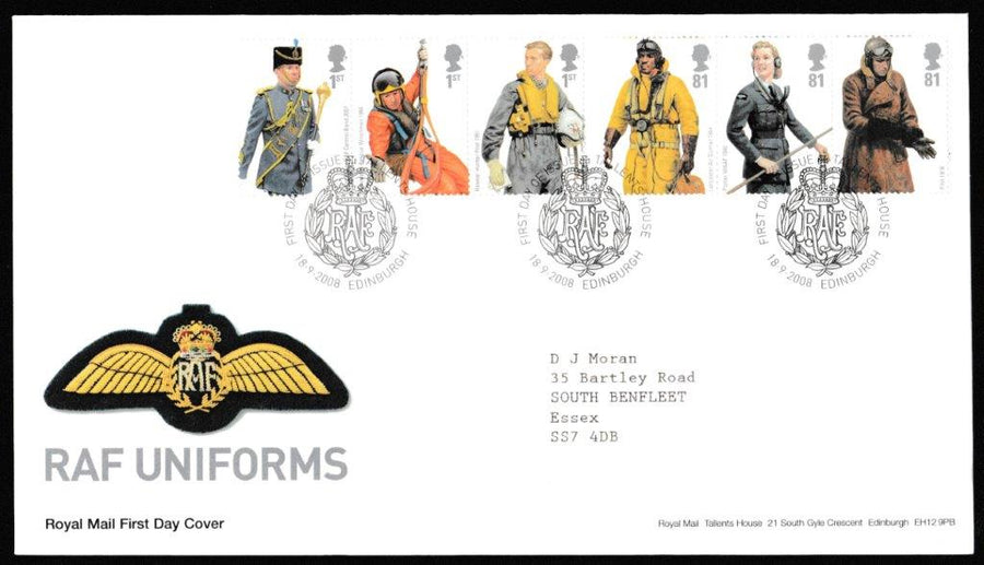 Great Britain First Day Cover, 'RAF Uniforms  ', Royal Mail, Royal Mail, Tallents House, Edinburgh, 18-Sep-2008