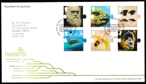 Great Britain First Day Cover, 'Charles Darwin 200th Anniversary', Royal Mail, Shrewsbury, 12-Feb-2009