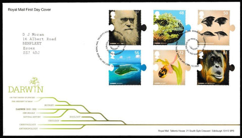 Great Britain First Day Cover, 'Charles Darwin 200th Anniversary', Royal Mail, Royal Mail, Tallents House, Edinburgh, 12-Feb-2009