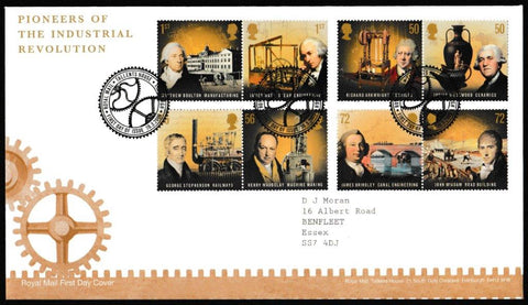 Great Britain First Day Cover, 'Pioneers of the Industrial Revolution', Royal Mail, Royal Mail, Tallents House, Edinburgh, 10-Mar-2009