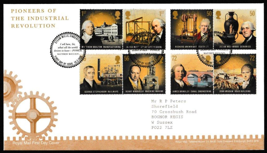 Great Britain First Day Cover, 'Pioneers of the Industrial Revolution', Royal Mail, Steam Mills, Cinderford, 10-Mar-2009