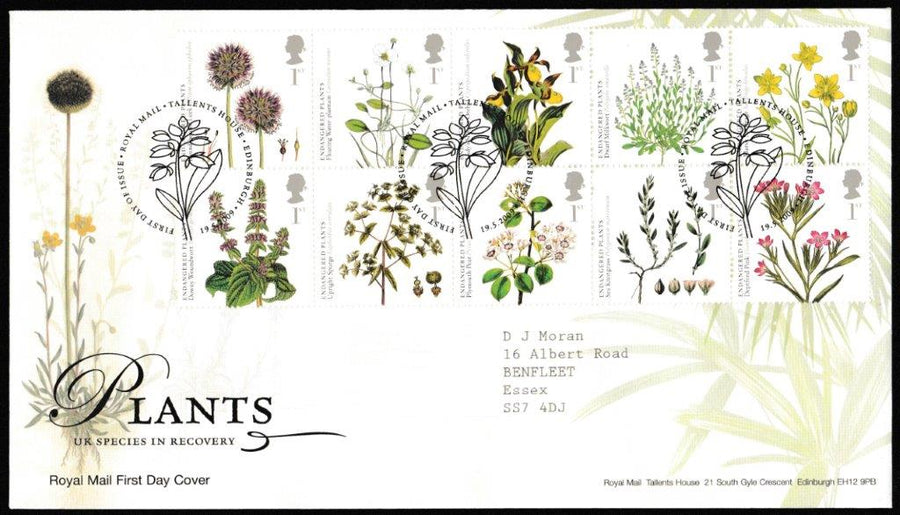 Great Britain First Day Cover, 'Plants in Recovery  ', Royal Mail, Royal Mail, Tallents House, Edinburgh, 19-May-2009