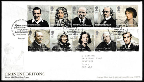 Great Britain First Day Cover, 'Eminent Britons', Royal Mail, Royal Mail, Tallents House, Edinburgh, 08-Oct-2009