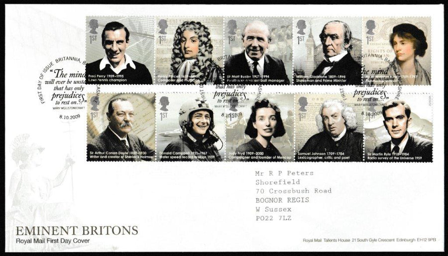 Great Britain First Day Cover, 'Eminent Britons', Royal Mail, Bacup, Lancashire, 08-Oct-2009