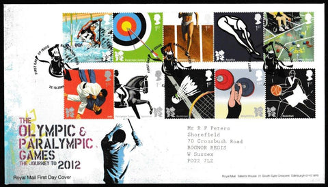 Great Britain First Day Cover, 'London 2012 Olympic Games', Royal Mail, Badminton, Glos, 22-Oct-2009