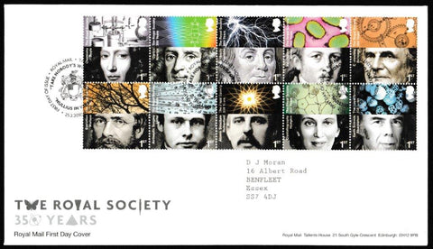 Great Britain First Day Cover, 'The Royal Society 350 Years', Royal Mail, Royal Mail, Tallents House, Edinburgh, 25-Feb-2010
