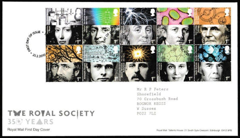 Great Britain First Day Cover, 'The Royal Society 350 Years', Royal Mail, London, SW1, 25-Feb-2010