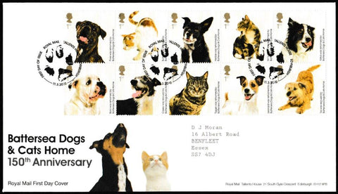 Great Britain First Day Cover, 'Battersea Dogs & Cats Home 150th Anniversary', Royal Mail, Royal Mail, Tallents House, Edinburgh, 11-Mar-2010