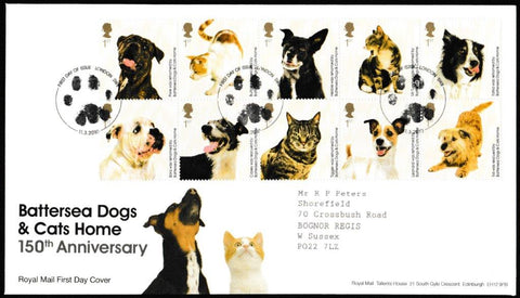 Great Britain First Day Cover, 'Battersea Dogs & Cats Home 150th Anniversary', Royal Mail, London, SW8, 11-Mar-2010