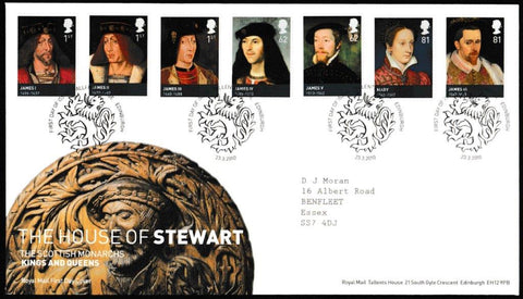 Great Britain First Day Cover, 'The House of Stewart', Royal Mail, Royal Mail, Tallents House, Edinburgh, 23-Mar-2010