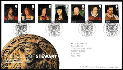 Great Britain First Day Cover, 'The House of Stewart', Royal Mail, Linlithgow, West Lothian, 23-Mar-2010
