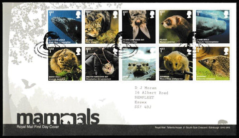 Great Britain First Day Cover, 'Mammals', Royal Mail, Royal Mail, Tallents House, Edinburgh, 13-Apr-2010