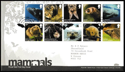 Great Britain First Day Cover, 'Mammals', Royal Mail, Batts Corner, Farnham, 13-Apr-2010
