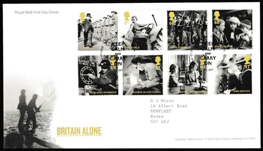 Great Britain First Day Cover, 'Britain Alone  ', Royal Mail, Royal Mail, Tallents House, Edinburgh, 13-May-2010