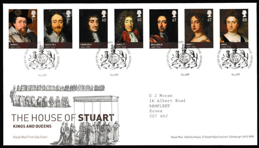 Great Britain First Day Cover, 'The Age of the Stuarts', Royal Mail, Royal Mail, Tallents House, Edinburgh, 15-Jun-2010