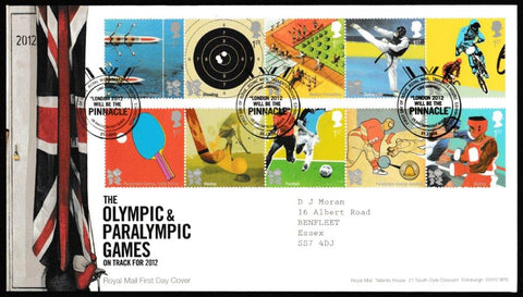 Great Britain First Day Cover, 'Olympic & Paralympic Games', Royal Mail, Royal Mail, Tallents House, Edinburgh, 27-Jul-2010