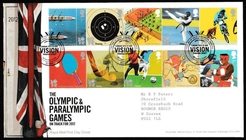 Great Britain First Day Cover, 'Olympic & Paralympic Games', Royal Mail, Rowington, Warwick, 27-Jul-2010
