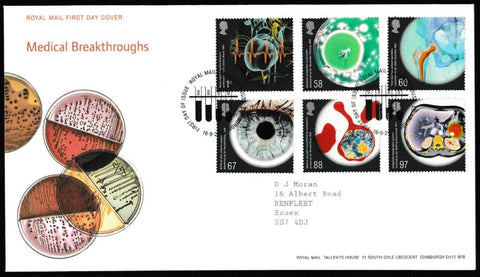 Great Britain First Day Cover, 'Medical Breakthroughs', Royal Mail, Royal Mail, Tallents House, Edinburgh, 16-Sep-2010