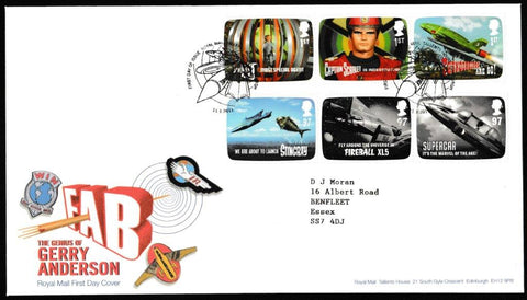 Great Britain First Day Cover, 'The Genius of Gerry Anderson', Royal Mail, Royal Mail, Tallents House, Edinburgh, 11-Jan-2011
