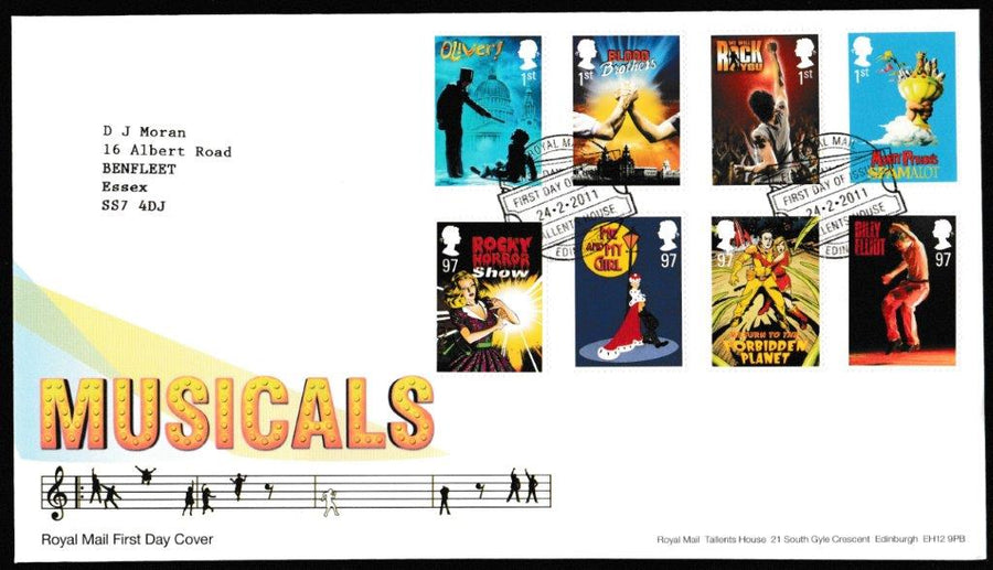 Great Britain First Day Cover, 'Musicals', Royal Mail, Royal Mail, Tallents House, Edinburgh, 24-Feb-2011