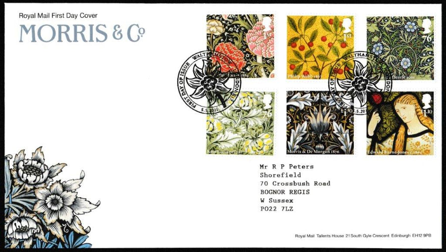 Great Britain First Day Cover, 'Morris & Co', Royal Mail, Walthamstow, London, E17, 05-May-2011