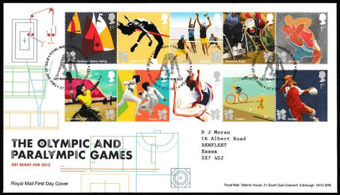 Great Britain First Day Cover, 'Olympic & Paralympic Games', Royal Mail, Royal Mail, Tallents House, Edinburgh, 27-Jul-2011