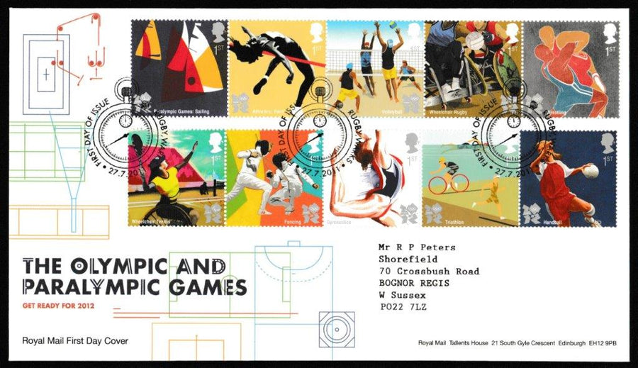 Great Britain First Day Cover, 'Olympic & Paralympic Games', Royal Mail, Rugby, Warks, 27-Jul-2011