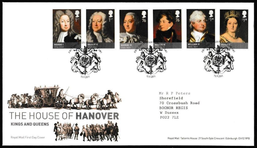 Great Britain First Day Cover, 'The House of Hanover', Royal Mail, London, SW1, 15-Sep-2011