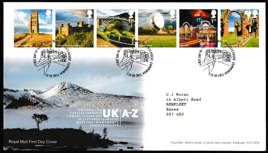 Great Britain First Day Cover, 'UK A-Z (2 cover set)', Royal Mail, Royal Mail, Tallents House, Edinburgh, 13-Oct-2011