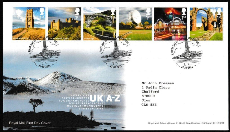 Great Britain First Day Cover, 'UK A-Z (2 cover set)', Royal Mail, Blackpool, 13-Oct-2011
