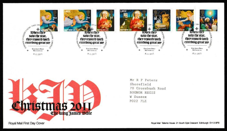 Great Britain First Day Cover, 'Christmas 2011', Royal Mail, Bethlehem, Llandeilo, 08-Nov-2011