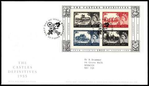 Great Britain First Day Cover - Mini Sheet, 'The Castle Definitives - Mini Sheet', Royal Mail, Windsor, 22-Mar-2005