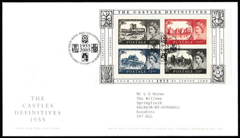 Great Britain First Day Cover - Mini Sheet, 'The Castle Definitives - Mini Sheet', Royal Mail, Royal Mail, Tallents House, Edinburgh, 22-Mar-2005