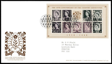 Great Britain First Day Cover - Mini Sheet, '50th Anniversary Country Definitives - Mini Sheet', Royal Mail, Royal Mail, Tallents House, Edinburgh, 29-Sep-2008