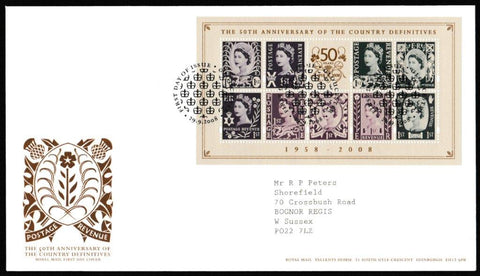 Great Britain First Day Cover - Mini Sheet, '50th Anniversary Country Definitives - Mini Sheet', Royal Mail, Gloucester, 29-Sep-2008