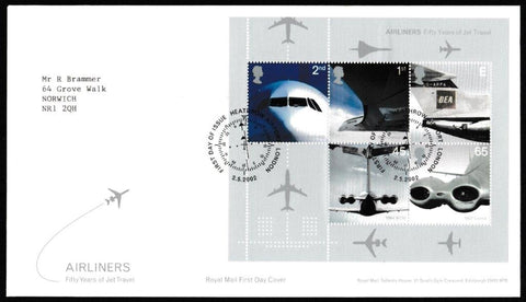 Great Britain First Day Cover - Mini Sheet, 'Airliners - Mini Sheet', Royal Mail, Heathrow Airport, London , 02-May-2002