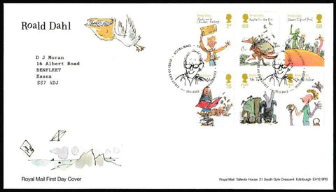 Great Britain First Day Cover, 'Roald Dahl', Royal Mail, Royal Mail, Tallents House, Edinburgh, 10-Jan-2012