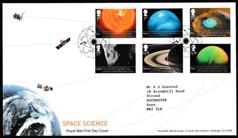 Great Britain First Day Cover , 'Space Science', Royal Mail, Royal Mail, Tallents House, Edinburgh, 16-Oct-2012