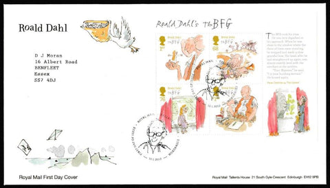 Great Britain First Day Cover - Mini Sheet, 'Roald Dahl - Mini Sheet', Royal Mail, Royal Mail, Tallents House, Edinburgh, 10-Jan-2012