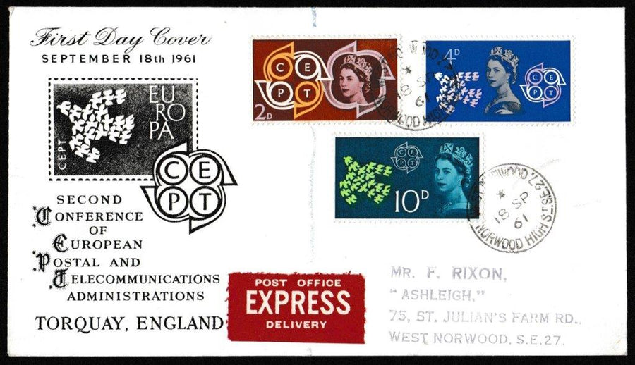 Great Britain First Day Cover, 'European Postal and Telecommunications Conference (CEPT)', PTS/BPA, Norwood High St, SE27, 18-Sep-1961